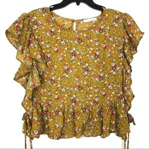NWT JUNE & HUDSON FLORAL TIE RUFFLE SLEEVE TOP L
